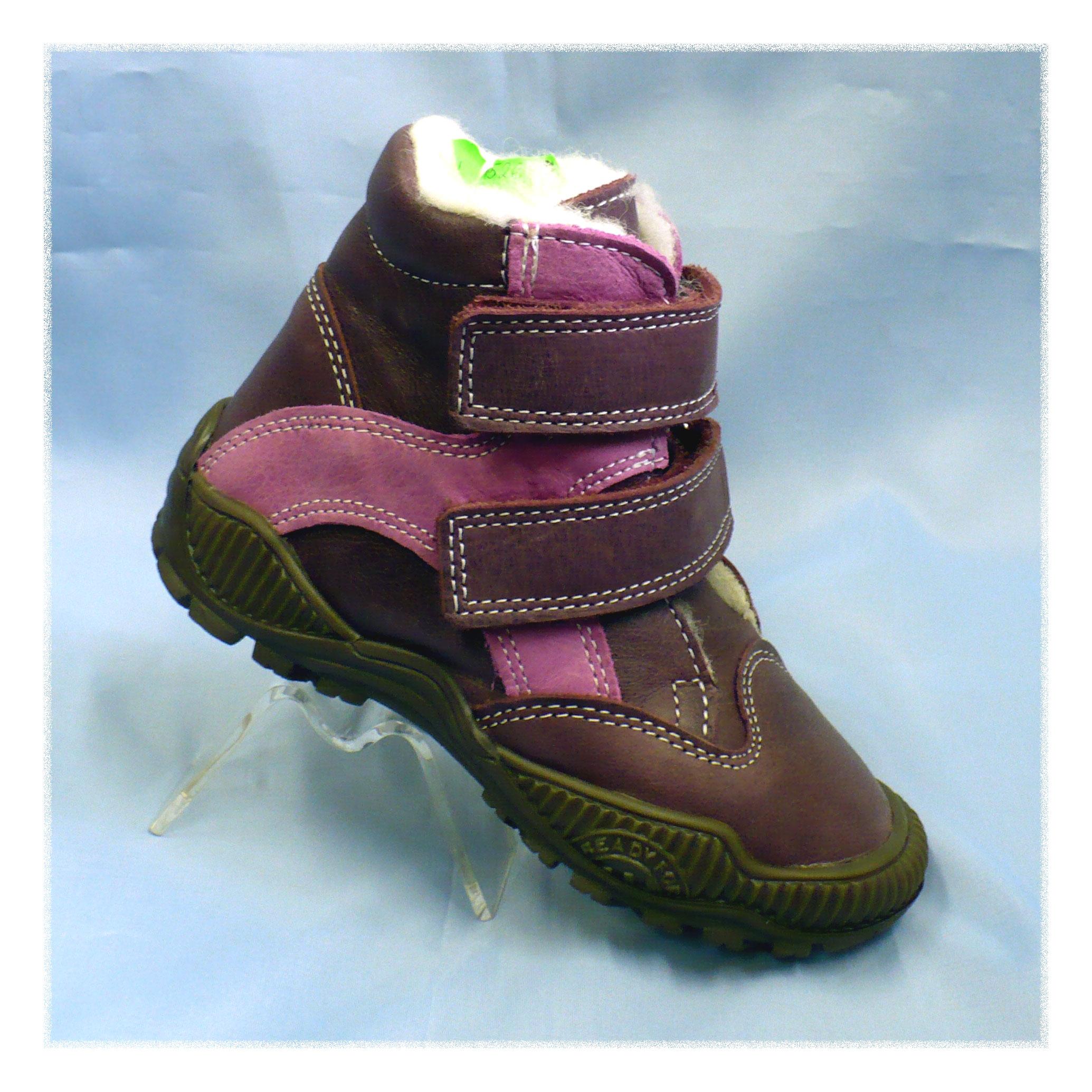 Kotníkové zimní boty na suchý zip fialové 85ca7b164a